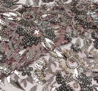 Metal Embroidered Chantilly Lace #1