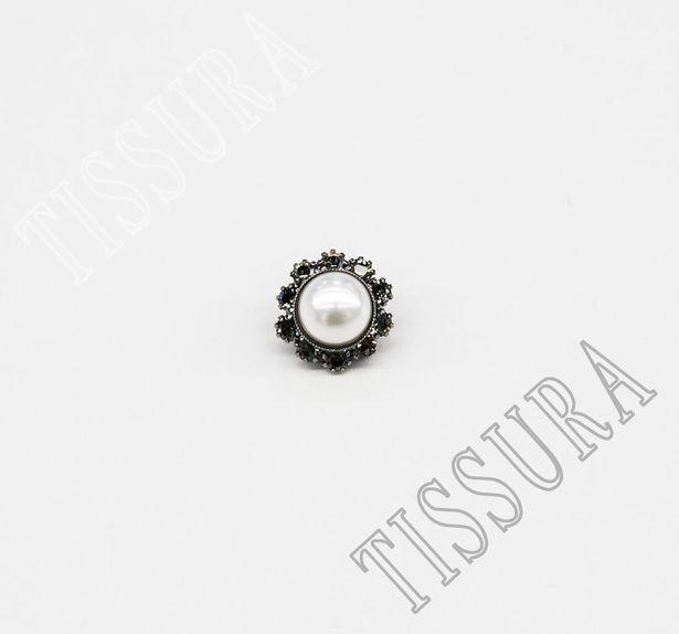Pearl Rhinestone Button #1