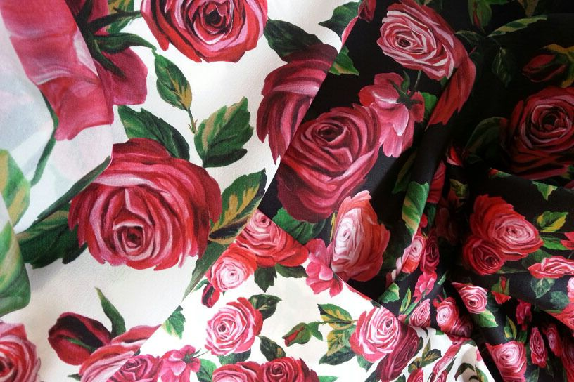 Silk Chiffon with rose print