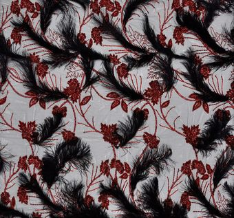Feather Sequin Embroidered Tulle #1