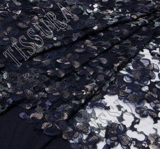 Floral Applique Embroidered Tulle #1