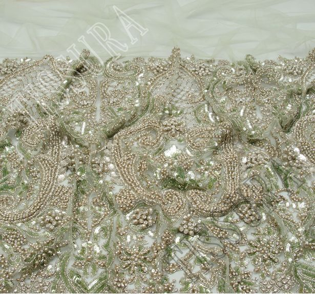 Embroidered Beaded Tulle #4