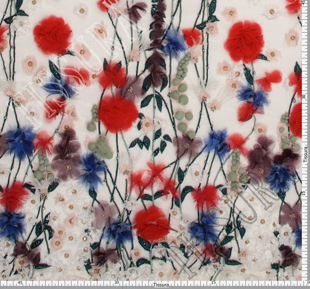 Floral Applique Beaded Tulle #3